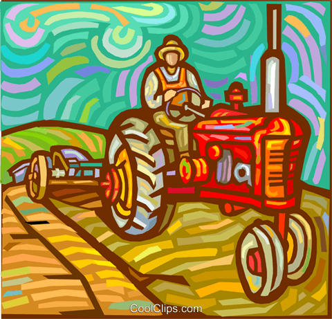 Farmer plowing fields with a tractor Royalty Free Vector Clip Art illustration vc017915