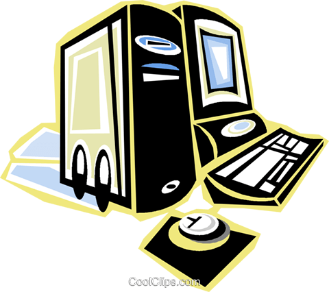 home/office computer system Royalty Free Vector Clip Art illustration vc018058