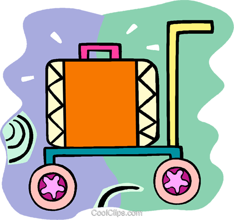 suitcase on a cart Royalty Free Vector Clip Art illustration vc018101