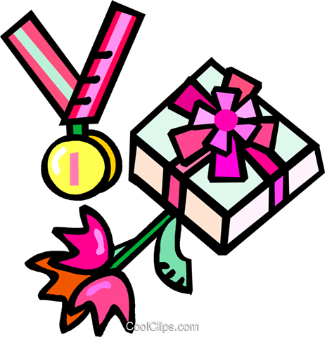 first place medal with flowers and gifts Royalty Free Vector
