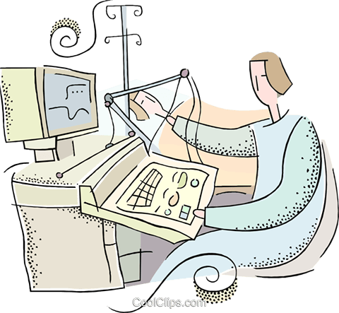 person working at a computer Royalty Free Vector Clip Art illustration vc018695