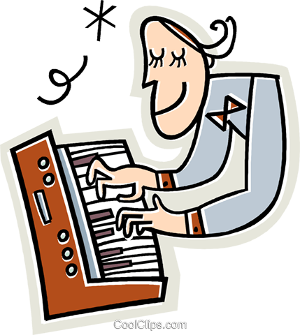 musician playing the keyboard Royalty Free Vector Clip Art illustration vc018994