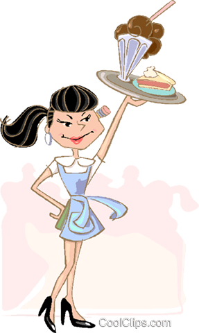 waitress serving a food order Royalty Free Vector Clip Art illustration vc019028