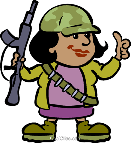 female soldier with a gun Royalty Free Vector Clip Art illustration vc019045