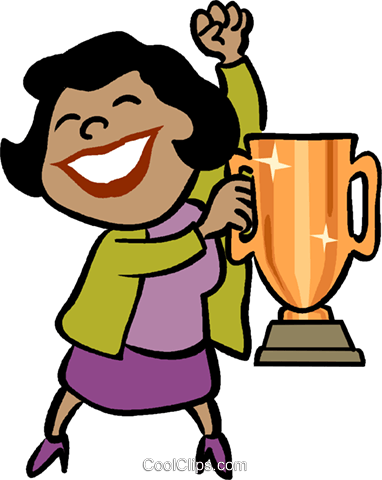 businesswoman with a trophy Royalty Free Vector Clip Art illustration vc019046