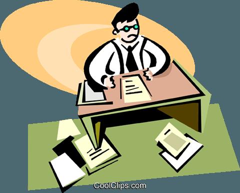 Lavoro Ufficio Clipart : L uomo seduto alla sua scrivania facendo lavoro di ufficio