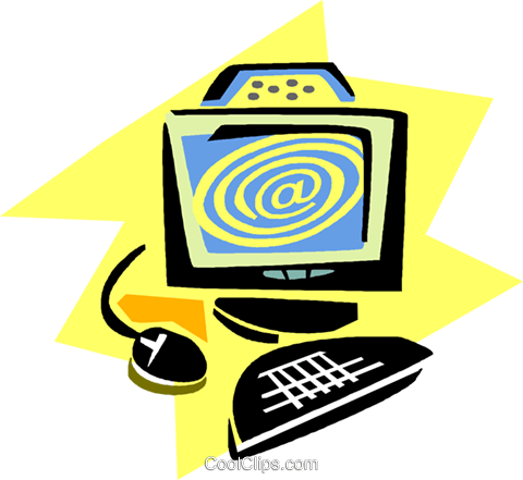 home/office computer Royalty Free Vector Clip Art illustration vc019446