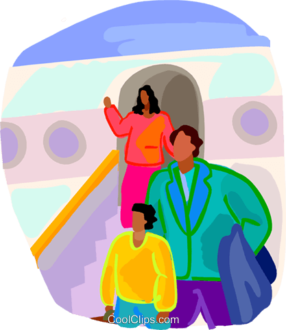 people getting off of a plane Royalty Free Vector Clip Art illustration vc019593
