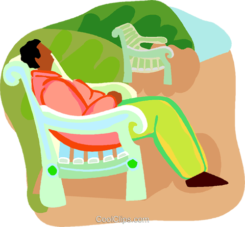 man relaxing on a park bench Royalty Free Vector Clip Art illustration vc019621