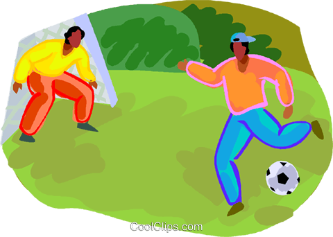 Zwei Kinder Fussball Spielen Vektor Clipart Bild Vc019625