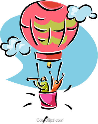 two people in a hot air balloon Royalty Free Vector Clip Art illustration vc019630