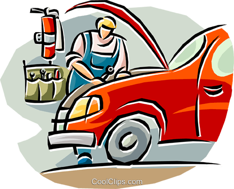 auto mechanic working on a car Royalty Free Vector Clip Art illustration vc019659