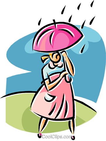 woman walking in the rain Royalty Free Vector Clip Art illustration vc019663