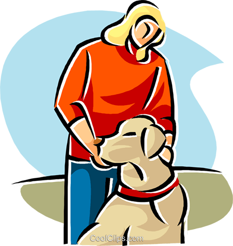 woman with her pet dog Royalty Free Vector Clip Art illustration vc019690
