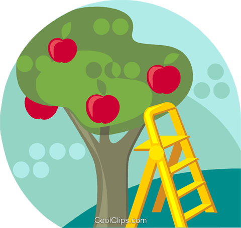 Apple tree with ladder Royalty Free Vector Clip Art illustration vc019713