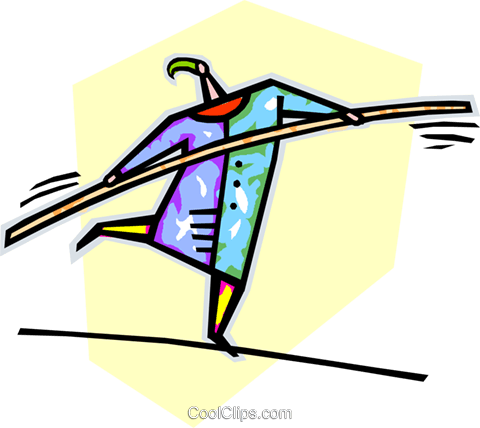 person walking on a tightrope Royalty Free Vector Clip Art illustration vc019862