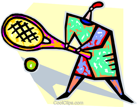 person playing tennis Royalty Free Vector Clip Art illustration vc019891