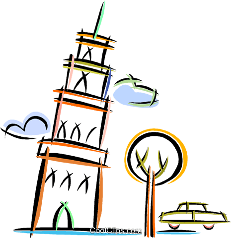 leaning tower of Pisa Royalty Free Vector Clip Art illustration vc019955