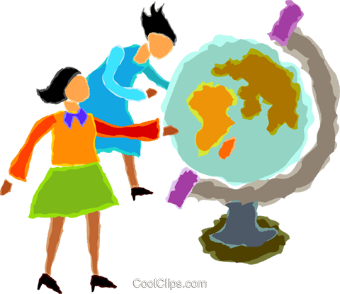 women looking at a globe Royalty Free Vector Clip Art illustration vc020021