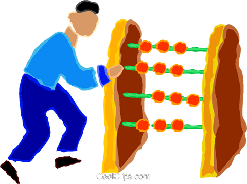 man using an abacus Royalty Free Vector Clip Art illustration vc020023