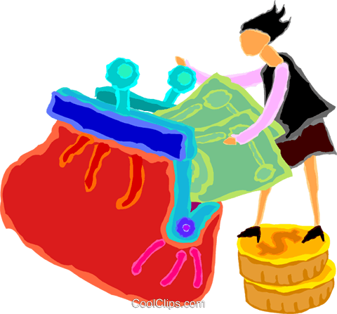 women putting money into a purse Royalty Free Vector Clip Art illustration vc020067