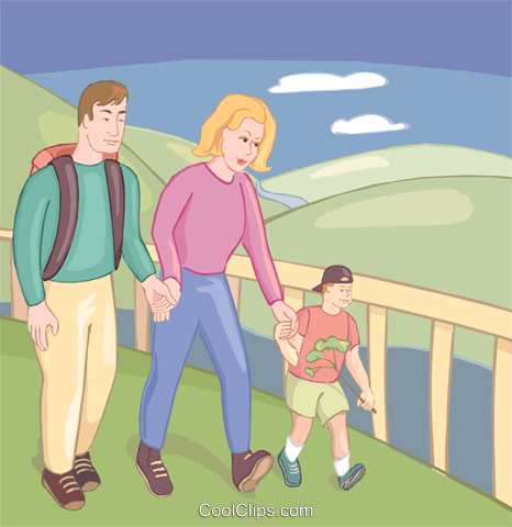 Family hiking through the park Royalty Free Vector Clip Art illustration vc020135