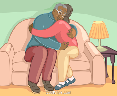 Older couple hugging on the loveseat Royalty Free Vector Clip Art illustration vc020148
