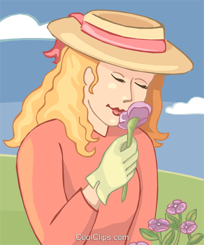 Woman smelling flowers Royalty Free Vector Clip Art illustration vc020153