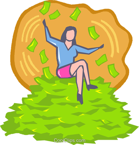 woman sitting on a pile of money royalty free vector clip art rh search coolclips com  big pile of money clipart