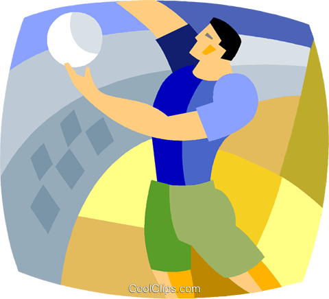 Volleyball player serving the ball Royalty Free Vector Clip Art illustration vc020328