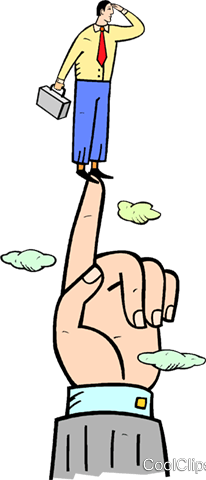 businessman standing on a pointed finger Royalty Free Vector Clip Art illustration vc020420