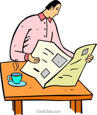 man reading the newspaper Royalty Free Vector Clip Art illustration vc020435