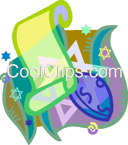 scrolls, star of David Royalty Free Vector Clip Art illustration vc020486
