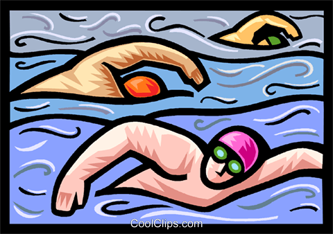 Swimmers in pool Royalty Free Vector Clip Art illustration vc020580