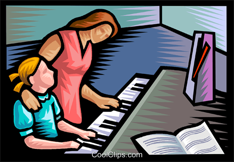 piano lessons Royalty Free Vector Clip Art illustration vc020595