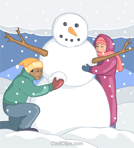 儿童建设雪人 免版税矢量剪贴画插图
