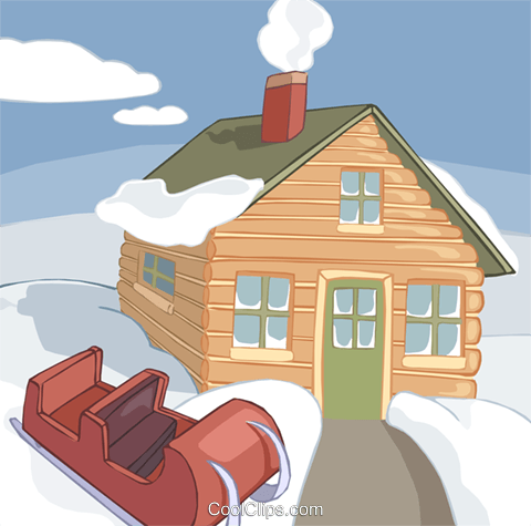 house in a winter setting Royalty Free Vector Clip Art illustration vc020707