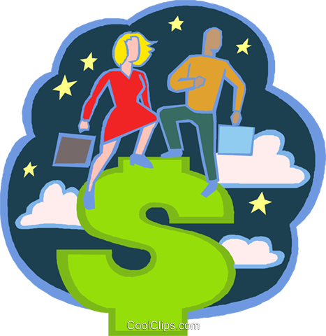 man and woman standing on a dollar sign Royalty Free Vector Clip Art illustration vc020711