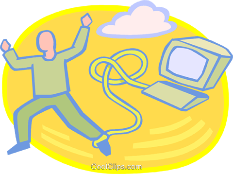 man chained to his work Royalty Free Vector Clip Art illustration vc020712