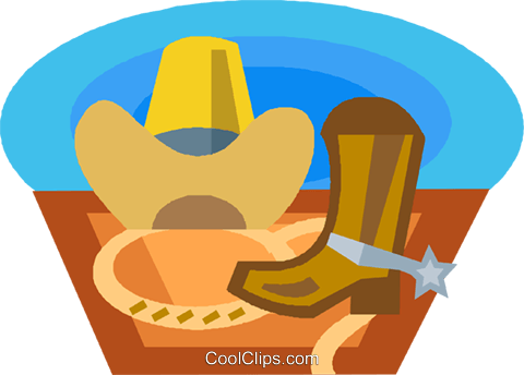 cowboy hat and boots Royalty Free Vector Clip Art illustration vc020731