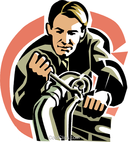 Mechanic with wrench Royalty Free Vector Clip Art illustration vc020937