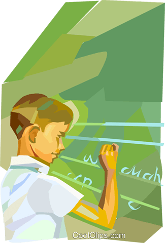 Student at the chalkboard Royalty Free Vector Clip Art illustration vc020962
