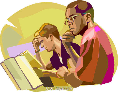 Students studying at school Royalty Free Vector Clip Art illustration vc020965