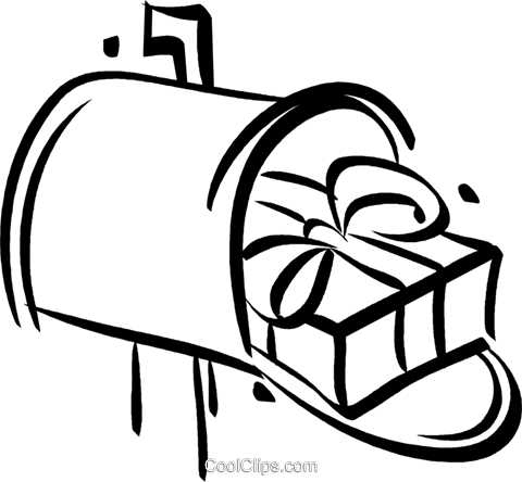 Christmas gift in a mailbox Royalty Free Vector Clip Art illustration vc021052