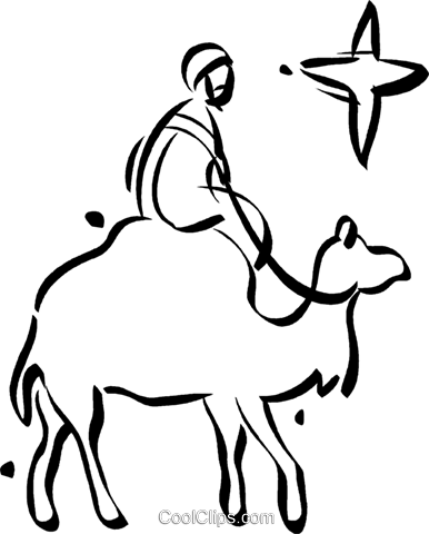 man riding a camel Royalty Free Vector Clip Art illustration vc021066