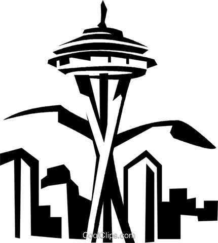 seattle space needle royalty free vector clip art illustration