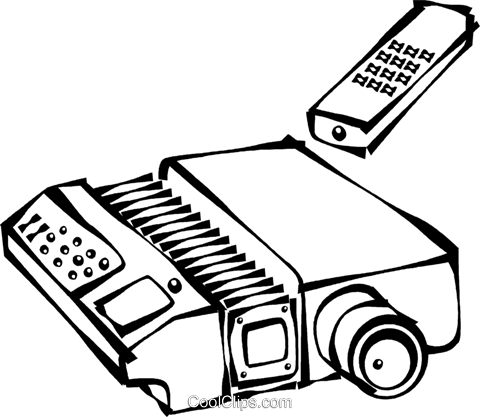 slide projector with a remote control Royalty Free Vector Clip Art illustration vc021704
