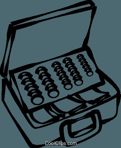 Cash Box Full Of Money Royalty Free Vector Clip Art Illustration