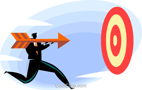 businessman shooting arrow at target Royalty Free Vector Clip Art illustration vc022249