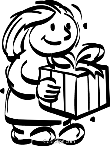 girl holding a present Royalty Free Vector Clip Art illustration vc022303